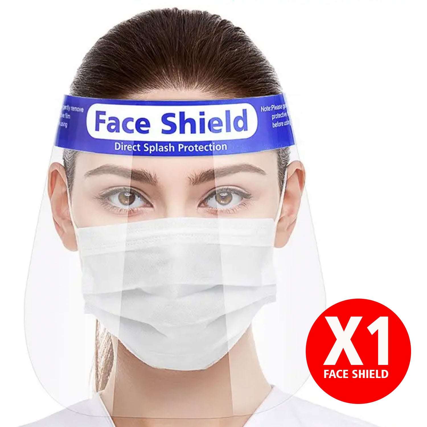 Disposable Blue Strip Face Shield Visor with Foam by  Forever Cosmetics