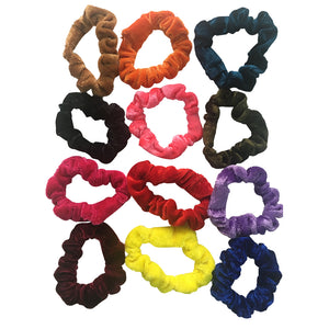 Glamza Mixed Bag Hair Scrunchies 12 Pack - Velvet and Standard