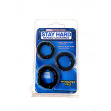 Load image into Gallery viewer, Stay Hard Novelty Beaded Cockrings - Black