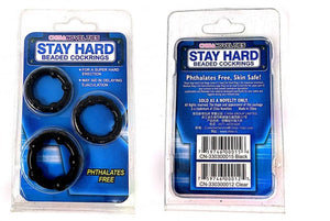 Stay Hard Novelty Beaded Cockrings - Black