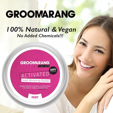 Groomarang Activated Charcoal Whitening Teeth Powder - Mint - 50g