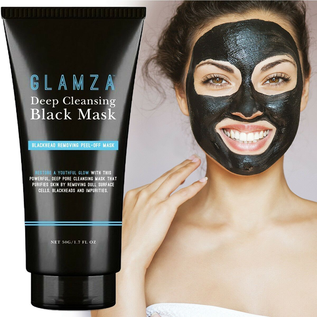 GLAMZA Deep Cleansing Black Mask - Blackhead Removing Peel off Mask 50g, Skin Care Masks & Peels by Forever Cosmetics
