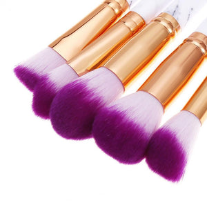Glamza 10pc Marble Makeup Brush Set
