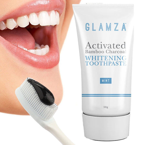 Glamza Activated Bamboo Charcoal Whitening Toothpaste - Mint - 50g