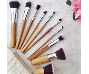 Glamza iB Bamboo Make Up Brush Set - 6pc or 10pc