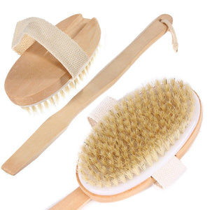 Glamza 2 in 1 Bath Shower & Dry Skin, Exfoliating Body Brush With Detachable Handle