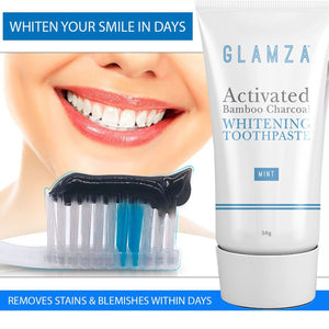 Glamza Activated Bamboo Charcoal Whitening Toothpaste - Mint