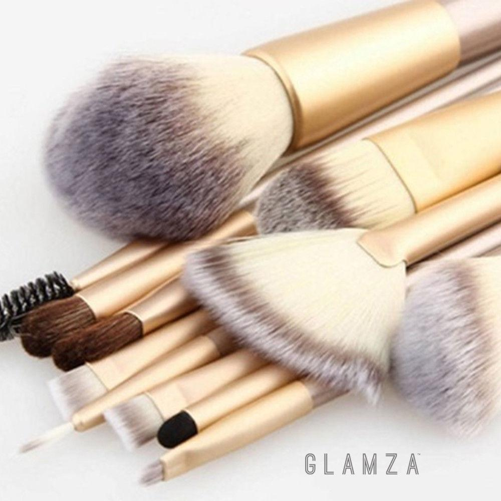 Glamza 12pc Champagne Makeup Brush Set, Cosmetic Tools by Forever Cosmetics