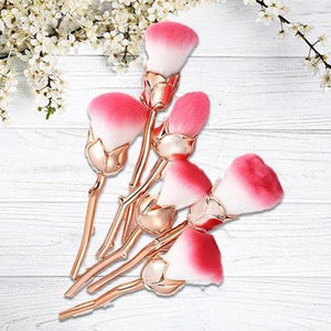 Glamza Rose 6pc Makeup Brush Set