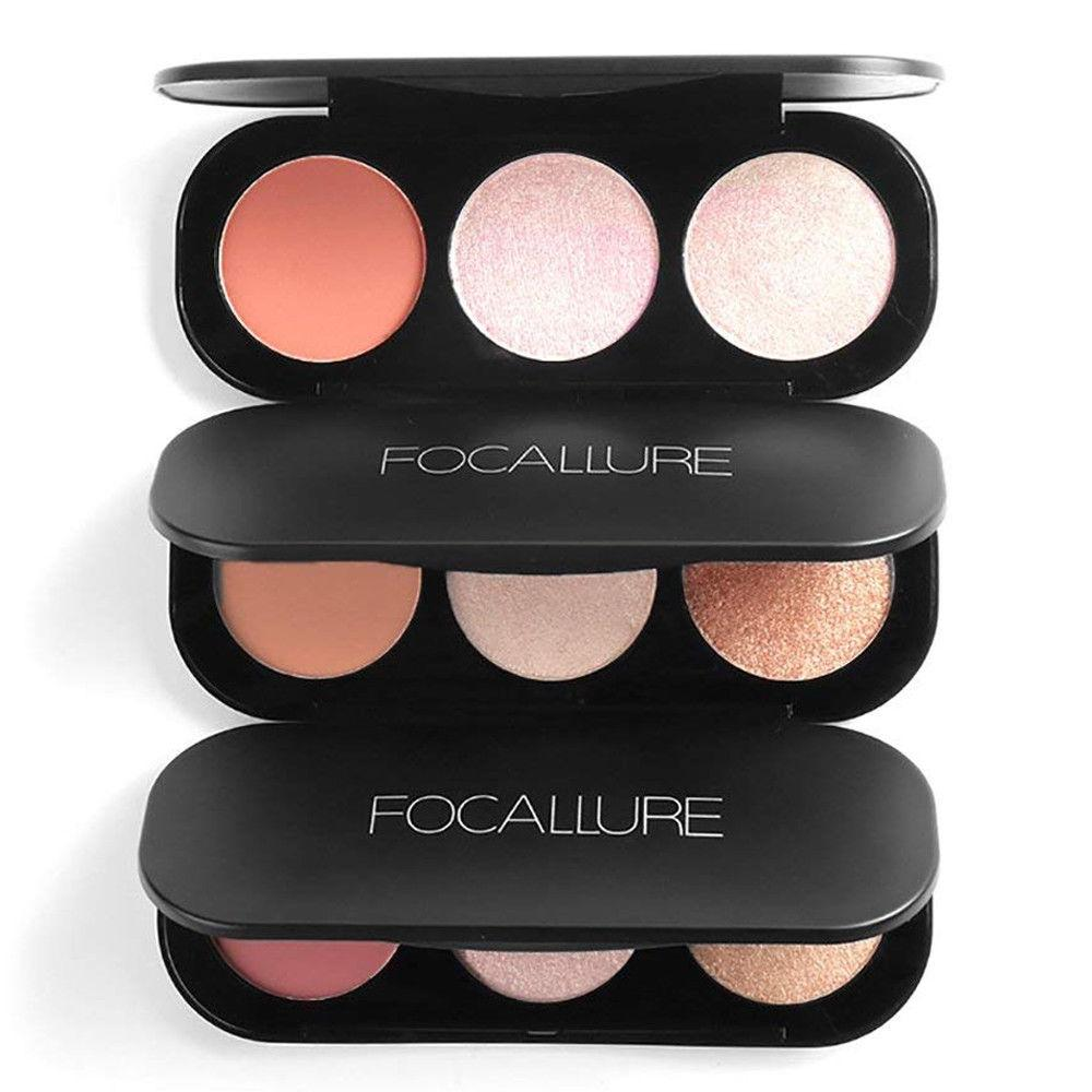 Focallure Triple Colour Blush & Highlighter Palette, Face Makeup by Forever Cosmetics