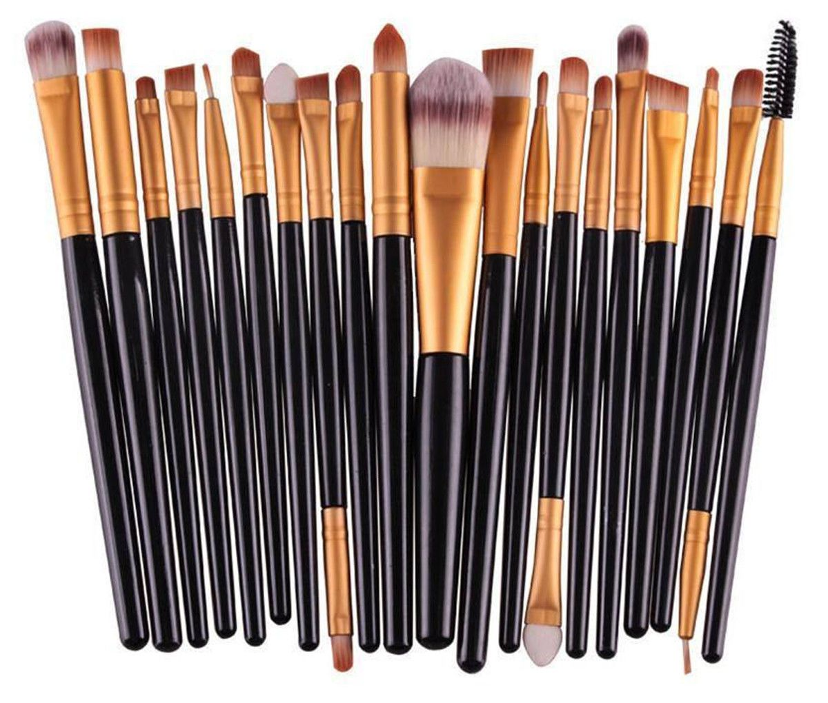 Glamza 20pc Makeup Brush Set - Black, Cosmetic Tools by Forever Cosmetics