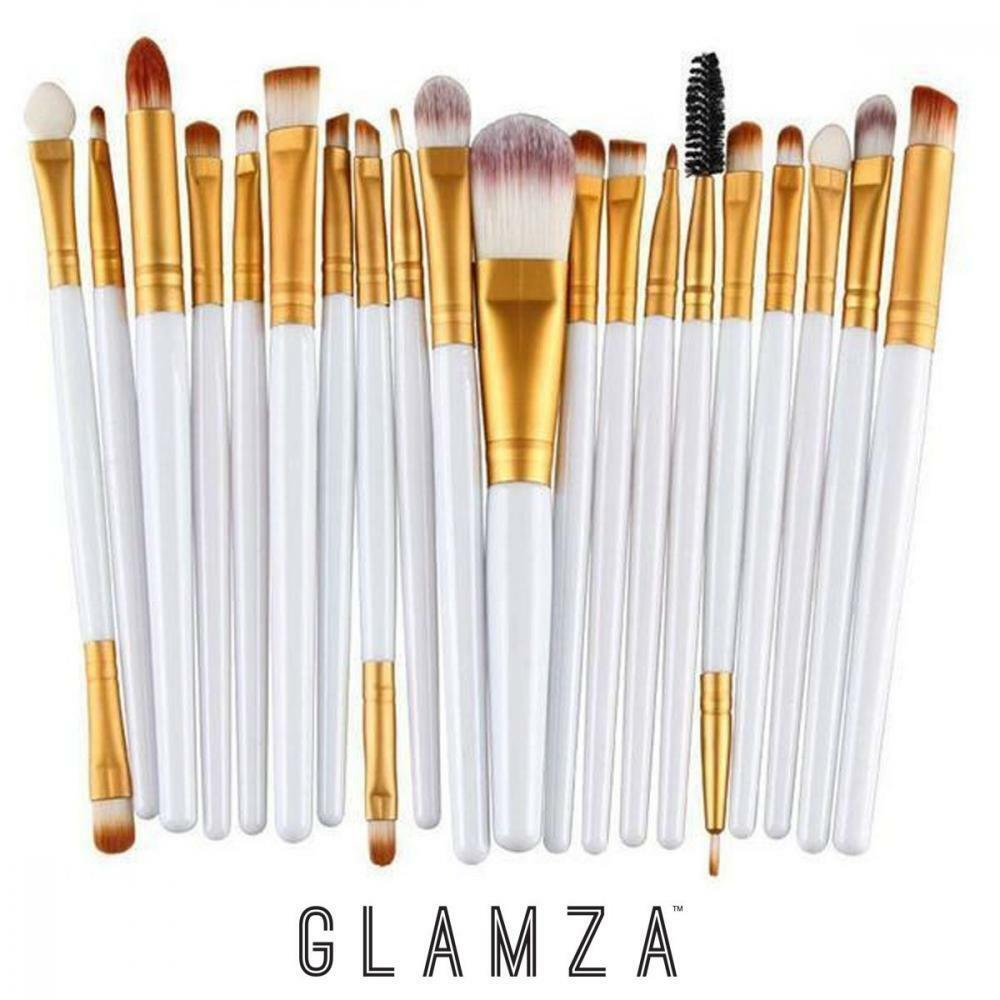 Glamza 20pc Makeup Brushes Set - White, Health & Beauty by Forever Cosmetics