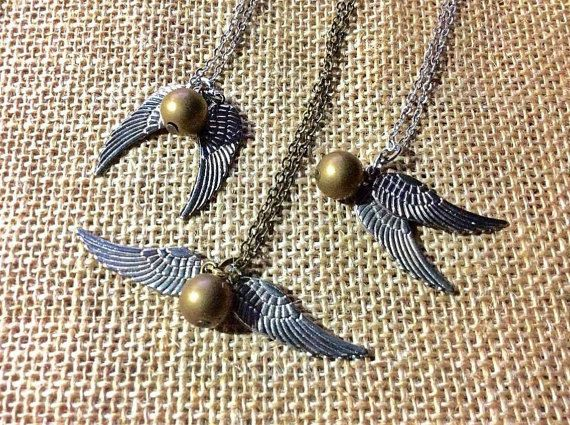 Harry Angel Potter Golden Brush Magical Wizard Doubled Winged Necklace