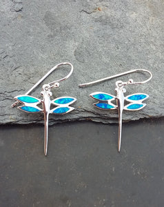 "E585 - Dragonfly ""Blue opal"" earrings"