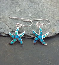 Load image into Gallery viewer, E586 - Silver Starfish Blue fire opal earrings