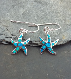 E586 - Silver Starfish Blue fire opal earrings
