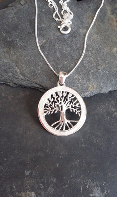 P506W - WHITE FIRE SNOW TREE OF LIFE PENDANT