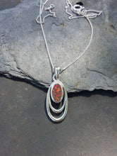 Load image into Gallery viewer, P612-SILVER OVAL WIRE `RED FIRE OPAL` PENDANT