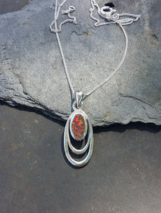 P612-SILVER OVAL WIRE `RED FIRE OPAL` PENDANT