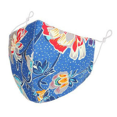 F0067 - Floral vine Blue background FACE MASK