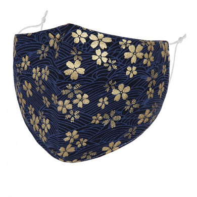 F0072 - GOLD FLOWERS ON BLUE FACE MASK