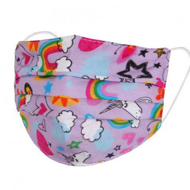 FM081 - Kid's rainbows and unicorns design fashion face mask/covering