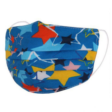 FM082 - Kid's coloured stars on blue fabric Face mask
