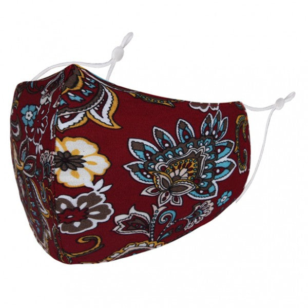 BL085 - Floral Paisley pattern on dark Red FACE MASK