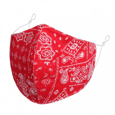 FM086 - White Paisley pattern on red fabric FACE MASK