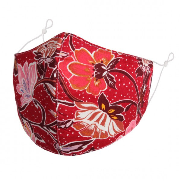 FM087 - Pink FLOWER pattern on red FACE MASK