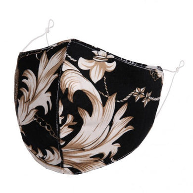 F0088 - Ornate ivory floral on Black FACE MASK