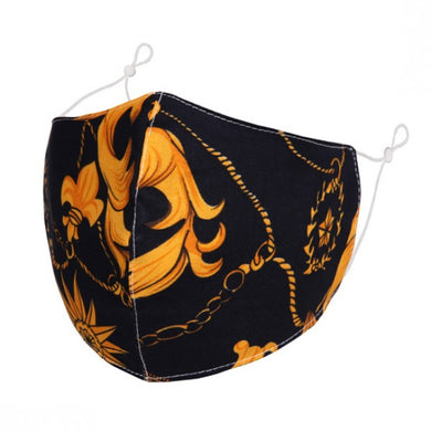 F0089 - Ornate gold floral FACE MASK