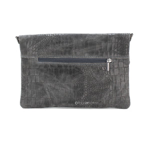 Fold-over Full Croc Print Leather Clutch bag - Dark Grey