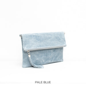 Fold-over Full Croc Print Leather Clutch bag - Pale Blue