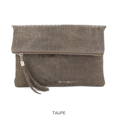 Fold-over Full Croc Print Leather Clutch bag - Taupe