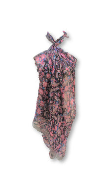 BLSC002 Beautiful 30% Silk Multi coloured scarf - Dark Paisley