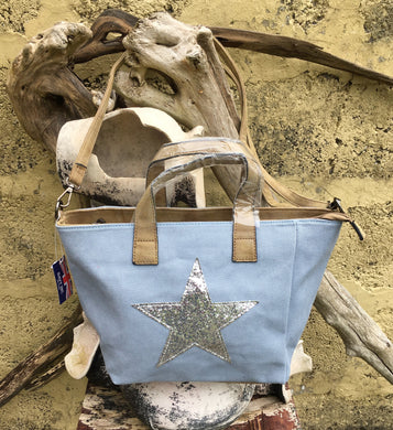 Shoulder bag canvas with Silver metallic star - Pale Blue