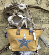 Load image into Gallery viewer, Shoulder bag canvas with Silver metallic star - Mustard