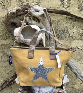 Shoulder bag canvas with Silver metallic star - Mustard