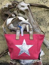 Charger l'image dans la galerie, Shoulder bag canvas with Silver metallic star - Rose