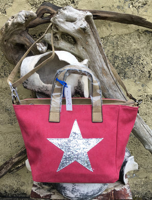 Shoulder bag canvas with Silver metallic star - Rose