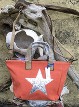 Load image into Gallery viewer, Shoulder bag canvas with Silver metallic star - Orange