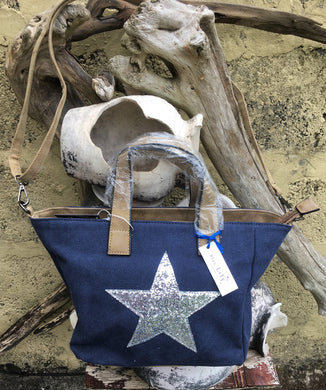 Shoulder bag canvas with Silver metallic star - Royal Blue
