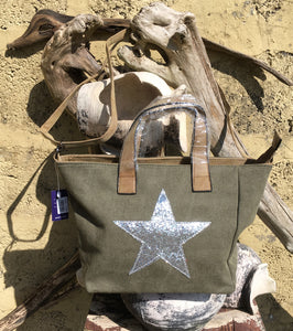 Shoulder bag canvas with Silver metallic star - Khaki