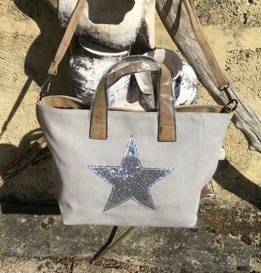 Shoulder bag canvas with Silver metallic star - Pale Grey