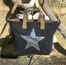 Load image into Gallery viewer, Shoulder bag canvas with Silver metallic star - Charcoal