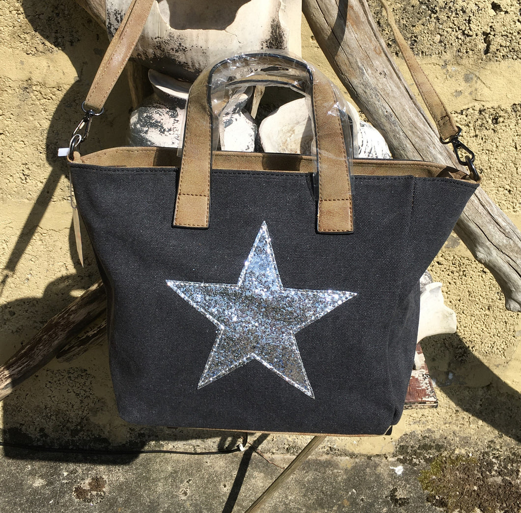 Shoulder bag canvas with Silver metallic star - Charcoal