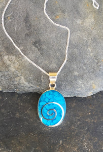 SP098 - BLUE RESIN OVAL SWIRL PENDANT