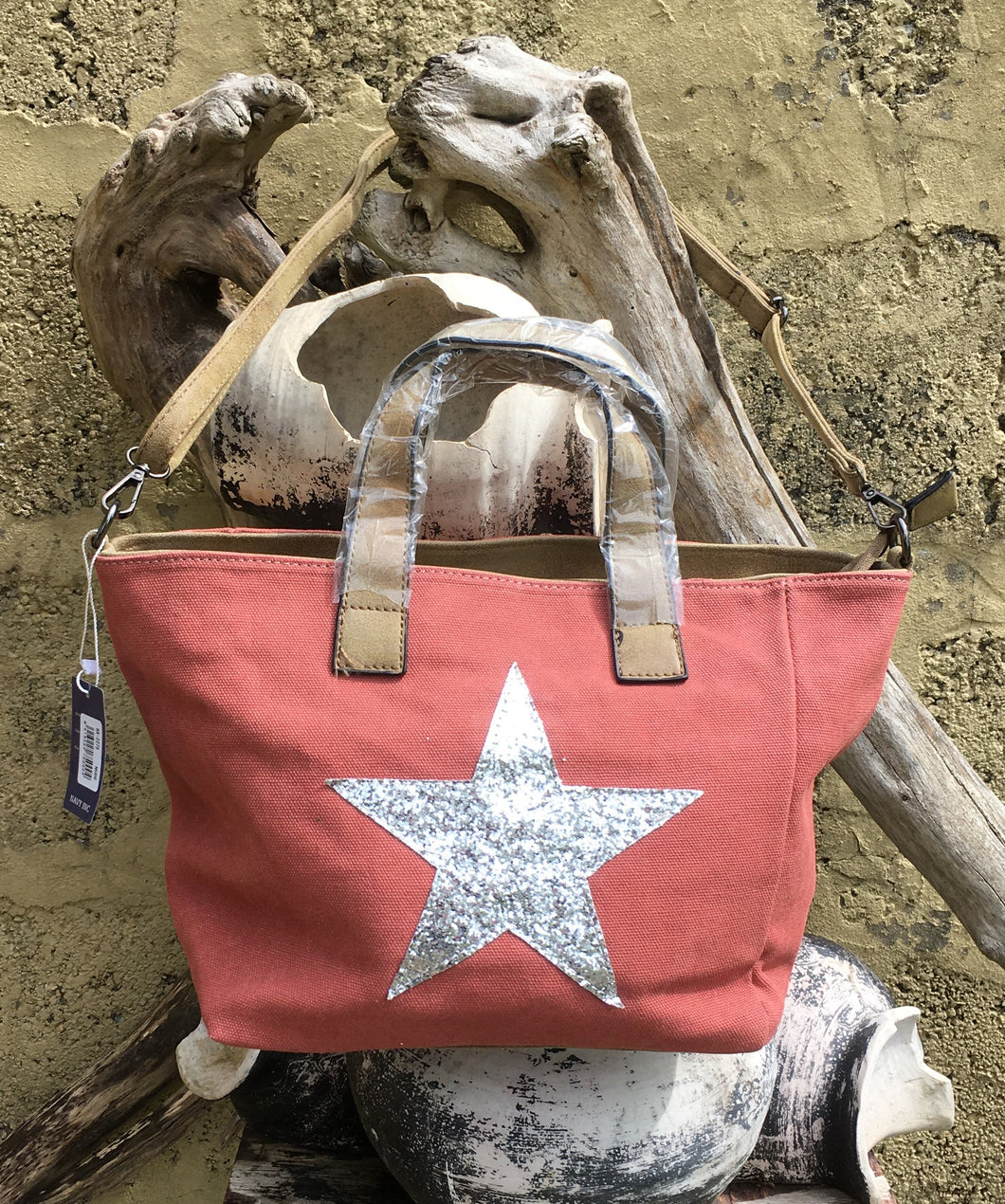 Shoulder bag canvas with Silver metallic star - Salmon Pink