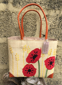Madaraff Raffia Bag – Small – Poppy Design